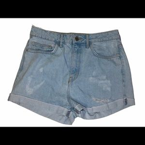 Forever 21 High Waisted Light Distressed Shorts